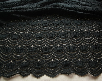 Black Crocheted Vintage Fabric Scalloped Cotton Lace Fabric Black Dress Fabric Supply
