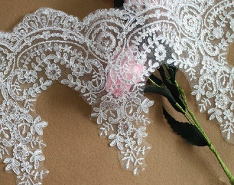"Alencon Bridal Lace Trim, Off white, Sequined Trim - 9.4"" wide, sold by the yard"