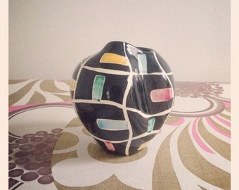 Schmider abstract squares decor freeform vase by Anneliese Beckh, form 4166, c1956