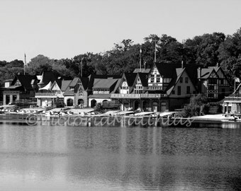 Boathouse Row Philadelphia fine art photography black and white matted 5x7