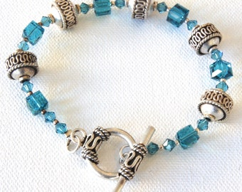 Dance to your Own Drumbeat, Bracelet, Sterling Silver, Swarovski Crystals, Teal, Blue, Beaded Bracelet, Gift for Her, Gift Idea, Toggle