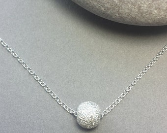 Sterling Silver ball necklace / glitter bead / Sparkle bead necklace / Silver pendant / modern necklace/ Bridesmaid wedding  / Disco ball