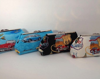 Corvette  Clutch Purse with Nickel/Silver Finish  metal Clasp; Car lover accessory, Corvette, Old Cars, Route 66 Clutch