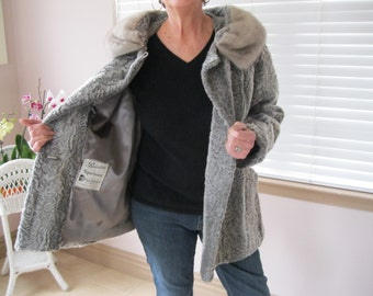 Vintage Gray Faux Persian Lamb Jacket Coat with MINK Collar EXCELLENT Condition Size 10