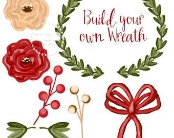 Wreath Clip Art, Invitation Art, holiday clip art, diy wreath art, build your own wreath
