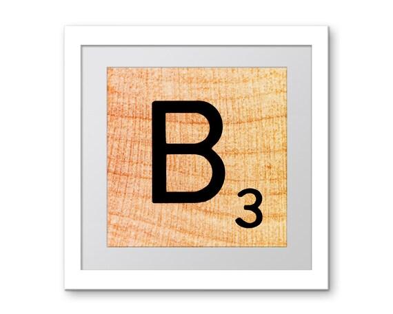 The Letter B Wall Decor : Orange letter b scrabble wall art alphabet print by ekphotoart