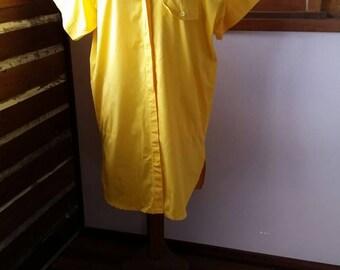 Vintage Carla Zampatti Australian design yellow cotton eighties dress oversize 8