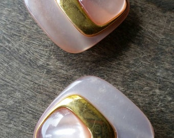 Pretty retro pink and gold earrings