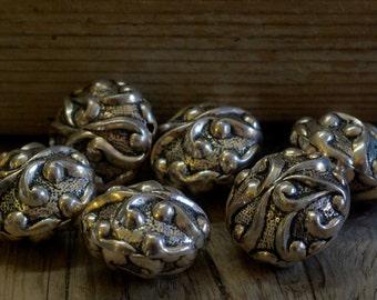 Decorative Plasticized Baroque Beads - Silver - 25mm x 18mm - 06 Bead