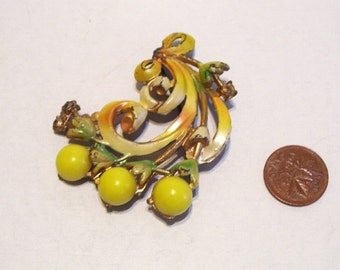 Antique  Floral Pin Brooch Painted Pastel  Flowers Brass
