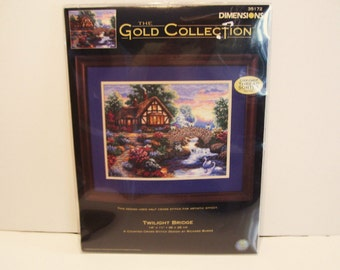 Twilight Bridge Dimensions Gold Collection  Counted Cross Stitch Kit # 35172