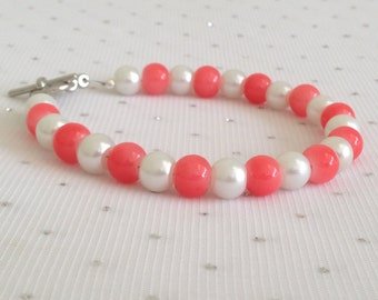 Pink Coral and White Wedding Jewelry, Bridesmaid Gift, Coral Bridesmaid Jewelry, Coral Jewelry, Coral Beaded Jewelry, Pink Coral Bracelet