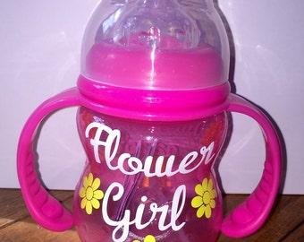 Flower Girl Gift - Personalized Sippy Cup / Wedding Party Gift / Bride Groom Bridesmaid Flower Girl Ring Bearer Maid of Honor