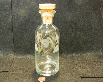 Fancy Etched Glass Bottle with Cork Stopper