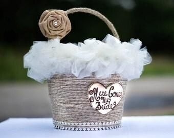 Flower Girl Pail, Flower Girl Basket, Here Comes The Bride Basket, Wedding Here Comes The Bride Basket, Custom Flower Girl Basket