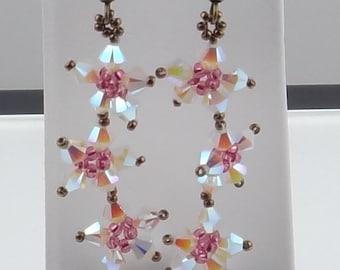 Multi-Star Flower Earrings - White and Pink, Swarovski Elements