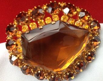 Large 1950s Smoky Topaz and Citrine/Amber Autumn Brooch Pin