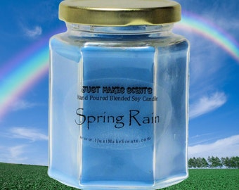 Spring Rain Scented Soy Candle - Free Shipping on Orders of 6 or More - Great Spring Candle - Home Made Blended Soy Candle - Clean Scent