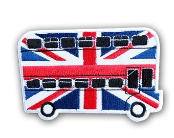 Union Jack Patch - Union Jack on London Bus Embroidered Iron on Patch/ British Flag Patch / UK Flag PAtch