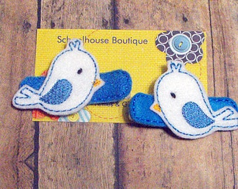 White and Blue Bird Felt Hair Clips, Felties, Feltie Hair Clip, Felt Hair Clip, Felt Hair Clippie, party favor