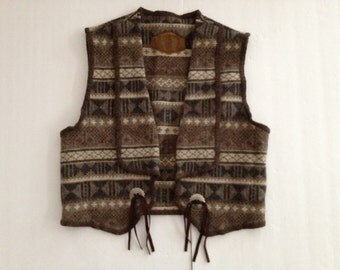 Ethnic Blanket Vest - Southwestern Navajo Native Pattern Wool Stripe  - Muted Browns Tans Chocolates - Vintage Woolrich / Cowgirl Cowboy