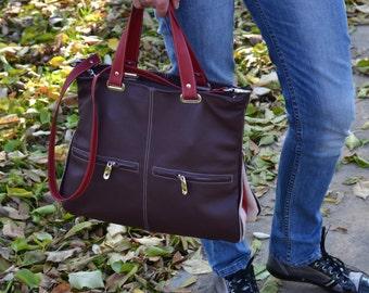 LEATHER SHOULDER BAG, Soft Leather Bag, Large Leather Handbag, Soft Leather Tote, Large Leather Tote Bag