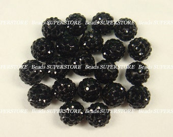 CLOSEOUT 8 mm Jet Pave Crystal Round Bead - Grade A - 11 pcs