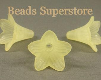 23 mm x 21 mm Yellow Lucite Flower Bead - 6 pcs