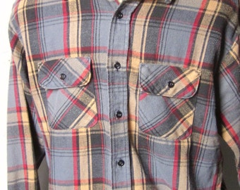 FLANNEL WORK SHIRT Vintage Five Brothers Heavy Flannel Grey,Tan & Red Plaid Two Pocket Lumberjack Work Shirt X-Large