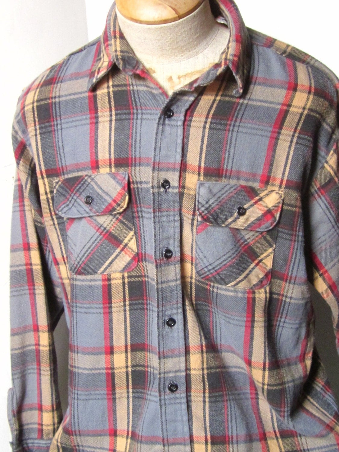 Flannel Work Shirt Vintage Five Brothers Heavy Flannel