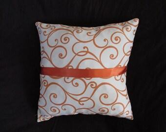 Orange  - white, vine patterned pillow case
