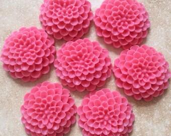 4 pcs 24 mm Cabochon Flowers,deep Pink,deep pink resin flower,assorted flower,deep pink flower,flower kit,pink mum cabochon,chrysanthemum
