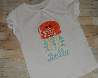 Infant baby Toddler girls Jelly fish cutie custom applique shirt 2t 3t 4t 5t