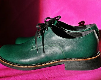 Handmade green leather DERBY SHOES