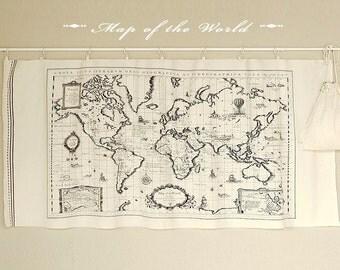 Linen Cotton fabric, Map of the World (World Map), Black Print on White 145cm x 70cm