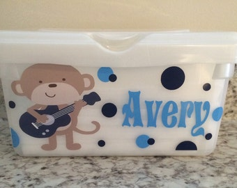Monkey Rockstar Guitar Baby Wipes Case Container Personalized Name Nursery Music