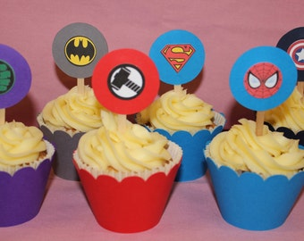 12 Super Hero Cupcake Wrappers