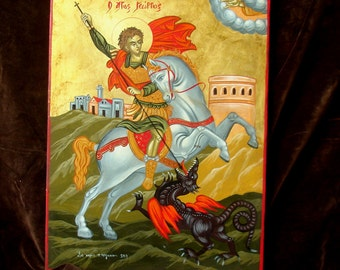CHRISTIAN.St.George. Saint George.greek icon. religious gift..saints icons,made in Greece, byzantine .christian ICONS.orthodox .