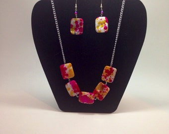 pink and yellow shell necklace and earring set