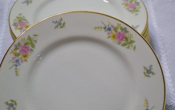 Vintage Bristol Fine China Candlelight Bread Dessert Plate Set