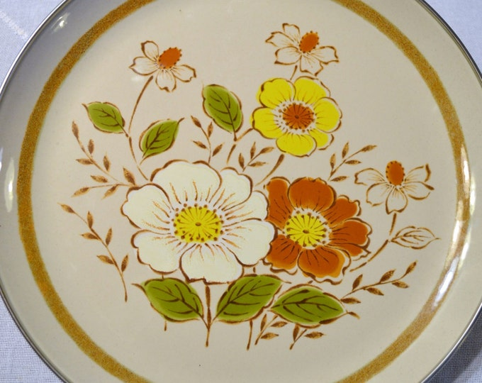 "Vintage Daniele Collection Trailside Metal Tray 14"" Orange Yellow Green Flowers PanchosPorch"