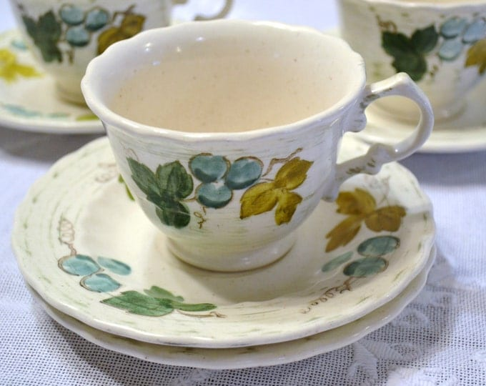 Vintage Metlox Vernon Ware Vineyard Cup and Saucer Set of 4 White Gold Green Teal Blue PanchosPorch