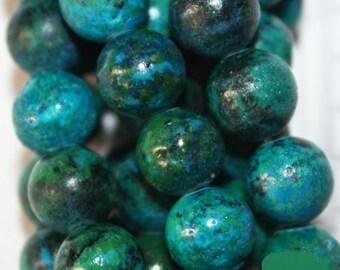 "Chrysocolla Beads - Round 8 mm Gemstone Beads - Full Strand 16"", 50 beads - Reconstituted"