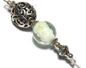 5 Luminous Glass Bead Hat Pin Vintage Tibetan Antique Silver Style  With End Protector (HP222)