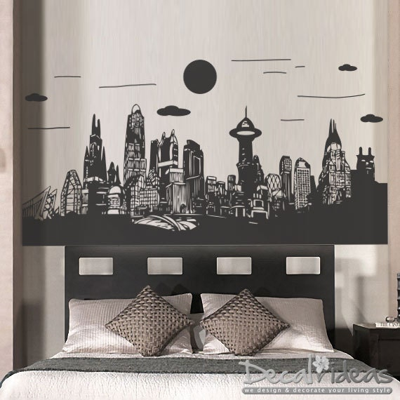 Superhero Wall Decal Gotham City Wall Decal Batman Sticker - Superhero vinyl wall decals