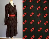 SALE Vtg 60s 70s MCMULLEN Secretary Dress Cocktail MOD Avant Garde Shirt Dress Rockabilly Atomic Geometric Op Art Graphic Print Midi Skirt