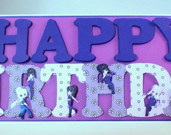 Cute Punk Girls Birthday Card, Decoupage,3D,Personalise