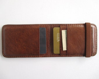 Leather credit card holder, minimalist wallet, thin wallet with elastic band in dark cognac