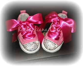 Pink & Hot Pink Converse Baby Bling Crib Shoes, Infant sizes