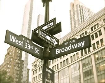 "8x10 Antiqued New York Broadway Sign Photo, ""Broadway"""